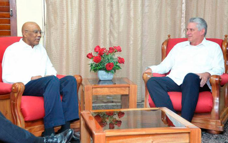 Miguel Diaz-Canel Meets with Guyanese President